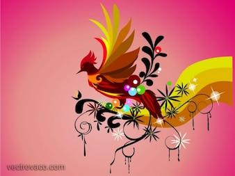 Fondo colorido del pájaro