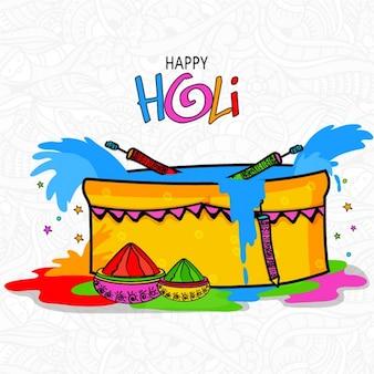 Fondo colorido dibujado a mano para el festival holi