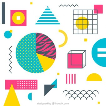 Fondo colorido y de formas geométricas
