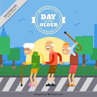 Fondo con abuelos felices en un paso de peatones