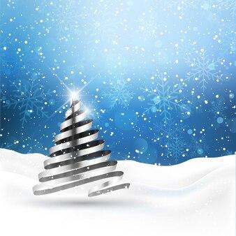 Fondo con árbol de navidad plateado
