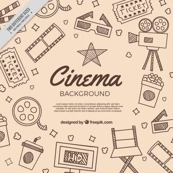 Fondo con bocetos de elementos tradicionales de cine