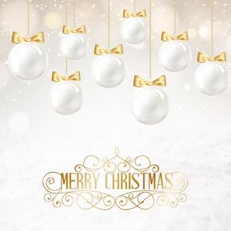 Fondo con bolas blancas de navidad