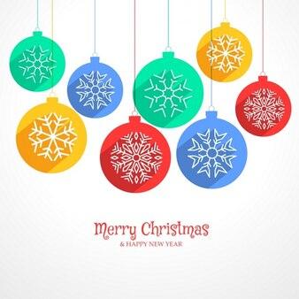 Fondo con bolas de navidad y diferentes copos de nieve