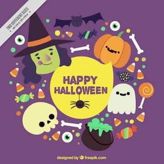 Fondo con bonitos elementos de halloween
