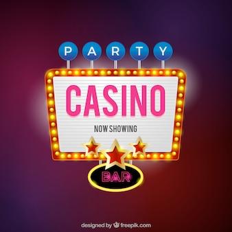 Fondo con cartel de casino con luces de neón
