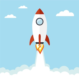 Fondo con cohete volador