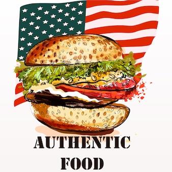 Fondo con comida americana