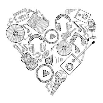Fondo con corazón musical