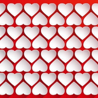 Fondo con corazones blancos de papel