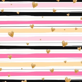 Fondo con corazones dorados y rayas rosas