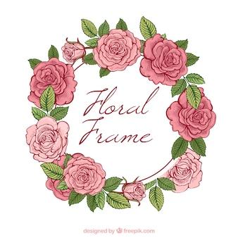 Fondo con corona de rosas