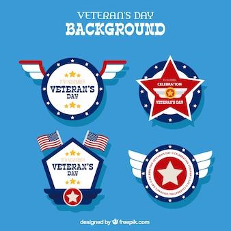 Fondo con diferentes insignias para el día de los veteranos