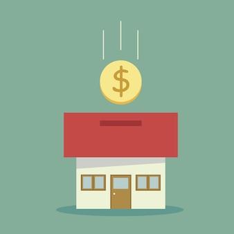 Fondo con diseño de casa y ahorrar dinero