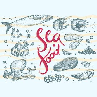 Fondo con diseño de comida marina