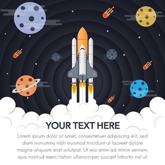 Fondo con diseño de espacio y cohete