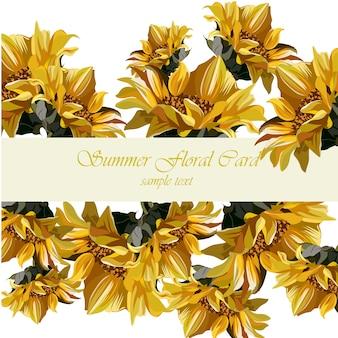 Fondo con diseño de flores amarillas