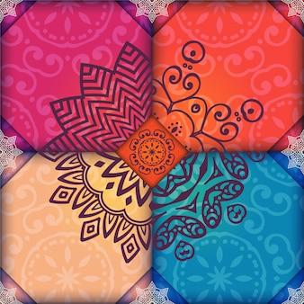 Fondo con diseño de mandala multicolor