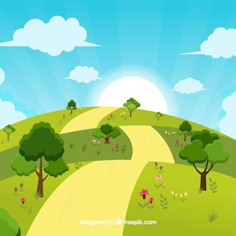 Fondo con diseño de paisaje soleado