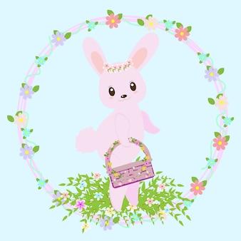 Fondo con diseño de pascua y conejo mono