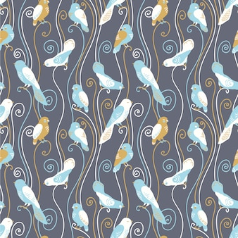Fondo con diseño de patrón de pájaros