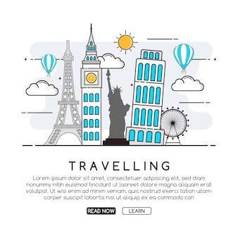Fondo con diseño de viaje