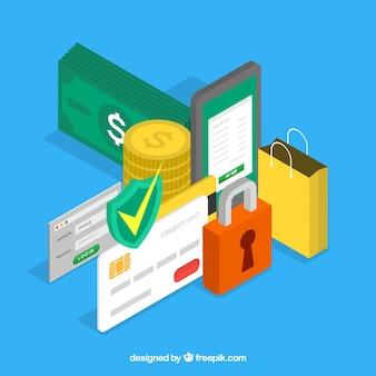 Fondo con elementos de compra y seguridad en estilo isométrica