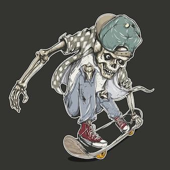 Fondo con esqueleto y monopatín