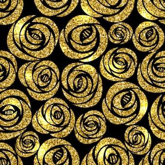 Fondo con flores doradas sobre un fondo negro