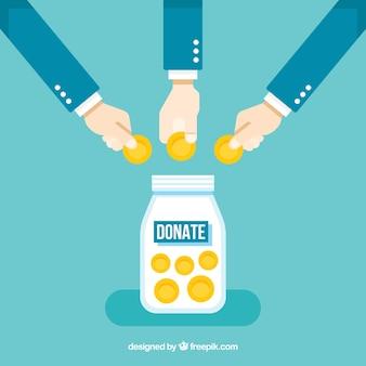 Fondo con gente haciendo una donación