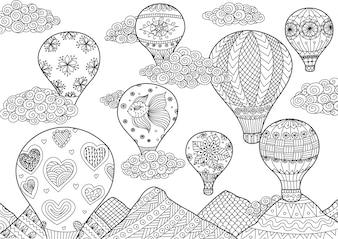 Fondo con globos aerostáticos