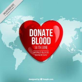 Fondo con gran corazón y mapa del mundo