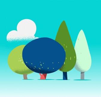 Fondo con ilustración de árboles