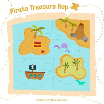 Fondo con mapa del tesoro pirata
