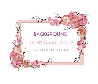 Fondo con marco de flores rosas