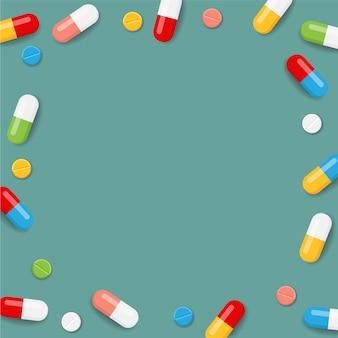 Fondo con marco de pastillas