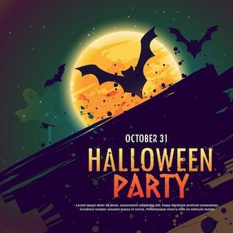 Fondo con murciélagos sobre una luna llena para halloween