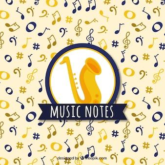 Fondo con notas musicales y saxofón