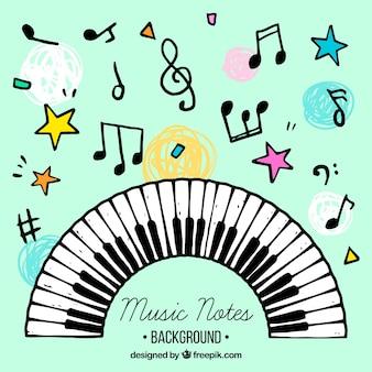 Fondo con notas musicales y teclado de piano dibujados a mano