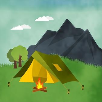 Fondo con paisaje de camping
