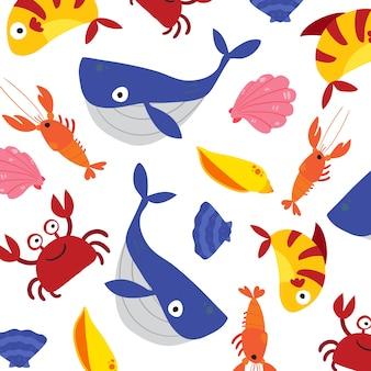 Fondo con patrón de animales marinos