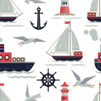 Fondo con patrón de barcos