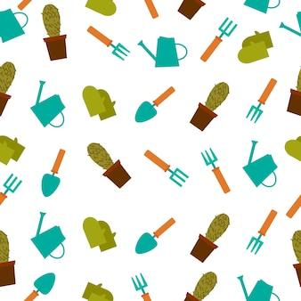 Fondo con patrón de cactus y herramientas