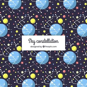 Fondo con patrón de constelaciones en el cielo con diseño plano