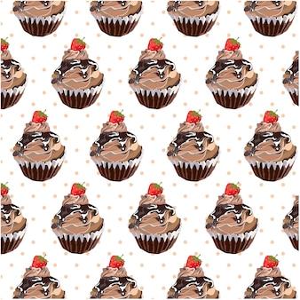 Fondo con patrón de cupcake