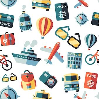 Fondo con patrón de elementos de viaje