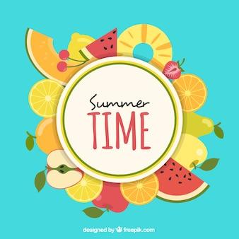 Fondo con patrón de fruta de verano