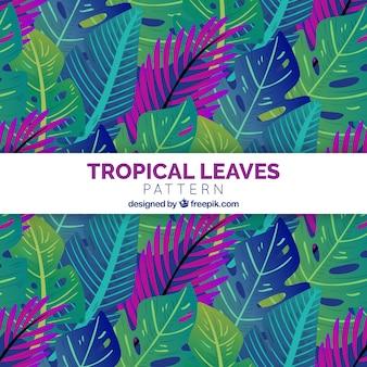 Fondo con patrón de hojas tropicales con diseño plano