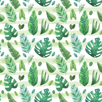 Fondo con patrón de hojas tropicales