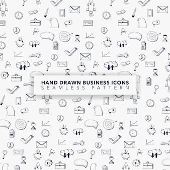 Fondo con patrón de iconos de negocios dibujados a mano